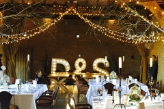 wedding initials in barn