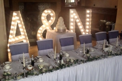 wedding letters behind top table