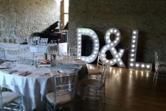 Illuminated hired wedding initials at Notley Abbey