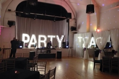 PARTY text in lights
