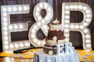 Illuminated aluminium letters intials with wedding cake
