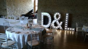 giant light-up letters D&L set up for wedding breakfast at motley abbey
