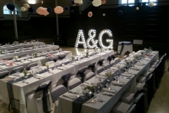 conference venue with letter lights