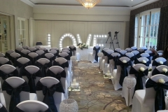 wedding venue with light up signs