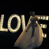 Love lights with bride in front