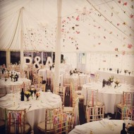 wedding initials in marquee