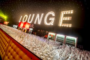 Planning a corporate event with light up LOUNGE letters