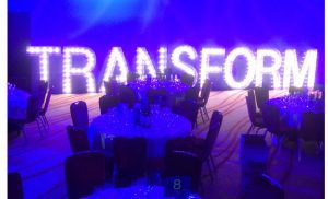 TRANSFORM in light up letters: Planning a corporate event